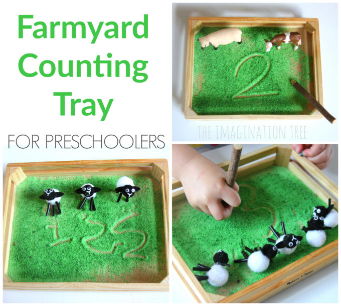 Farmyard Sensory Writing and Counting Tray