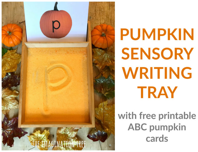 Pumpkin Sensory Writing Tray- free printables!