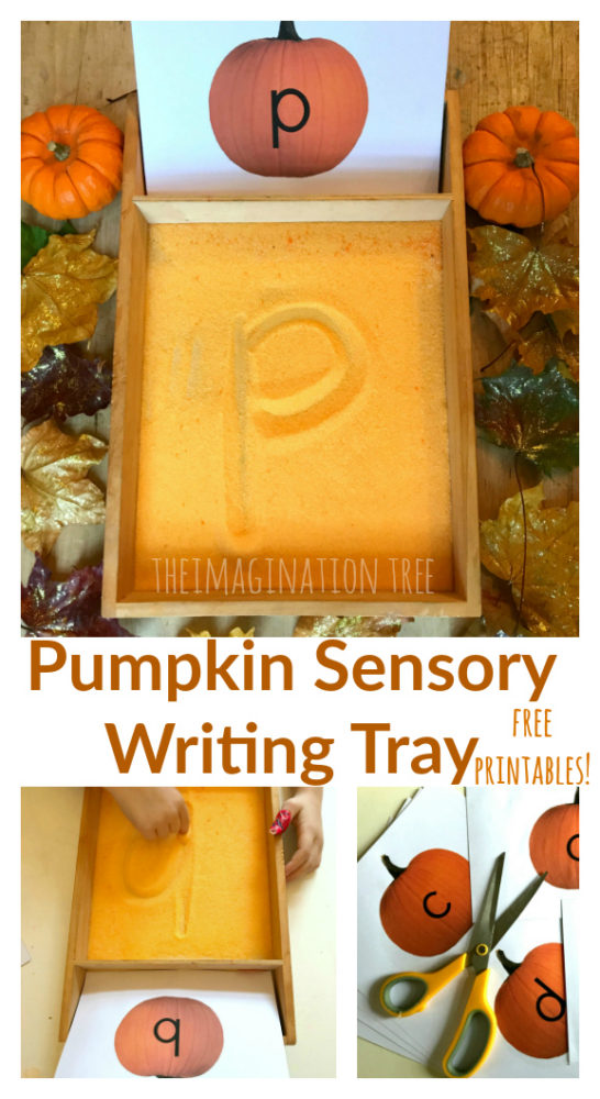 Pumpkin Sensory Writing Tray with free ABC printable cards!
