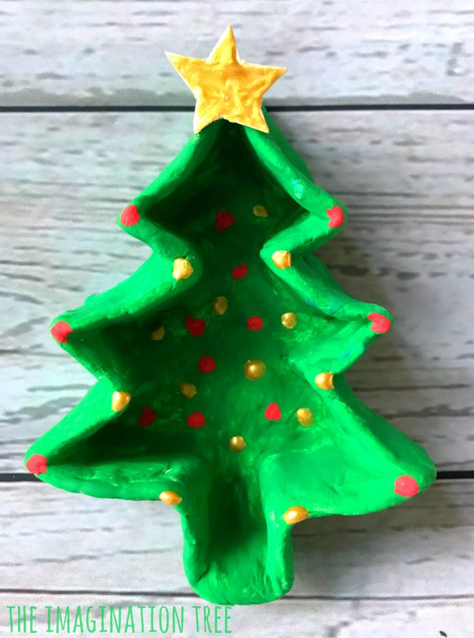 Christmas Tree Clay Pinch Pot