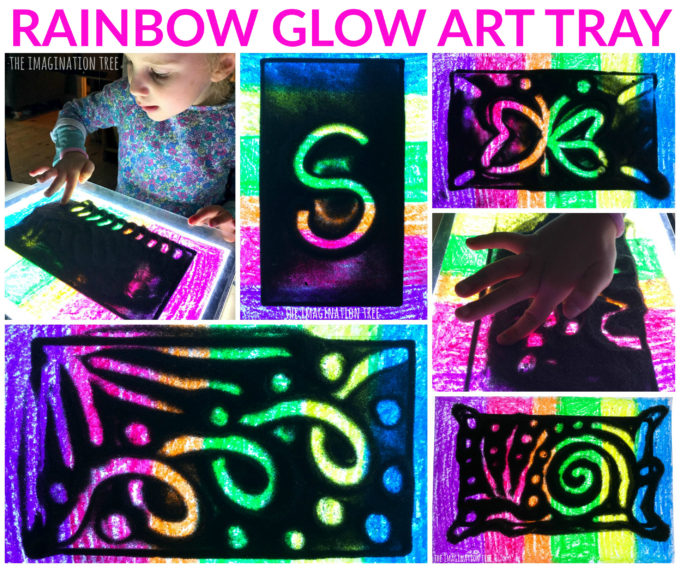 DIY Rainbow Glow Art Tray