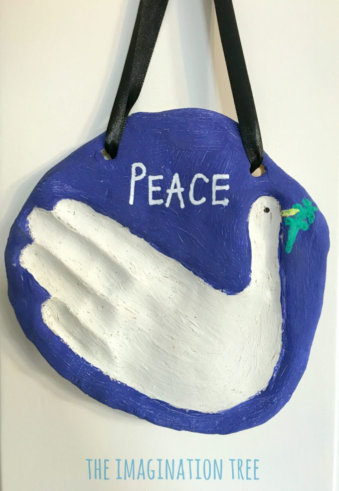 Peace dove salt dough hand print keepsake for kids!