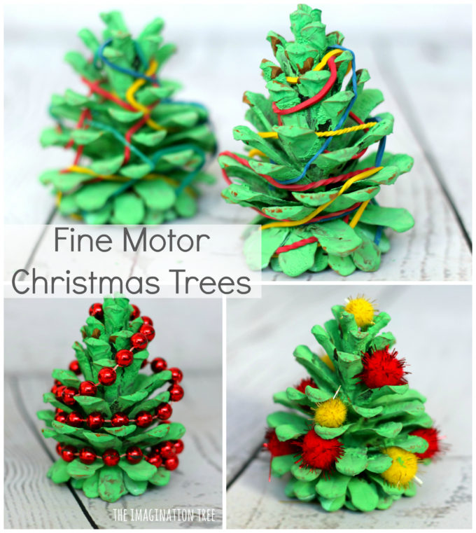 painting pine cones with green acrylic paints makes the most gorgeous little natural christmas trees ready for adding to loose parts play small world set