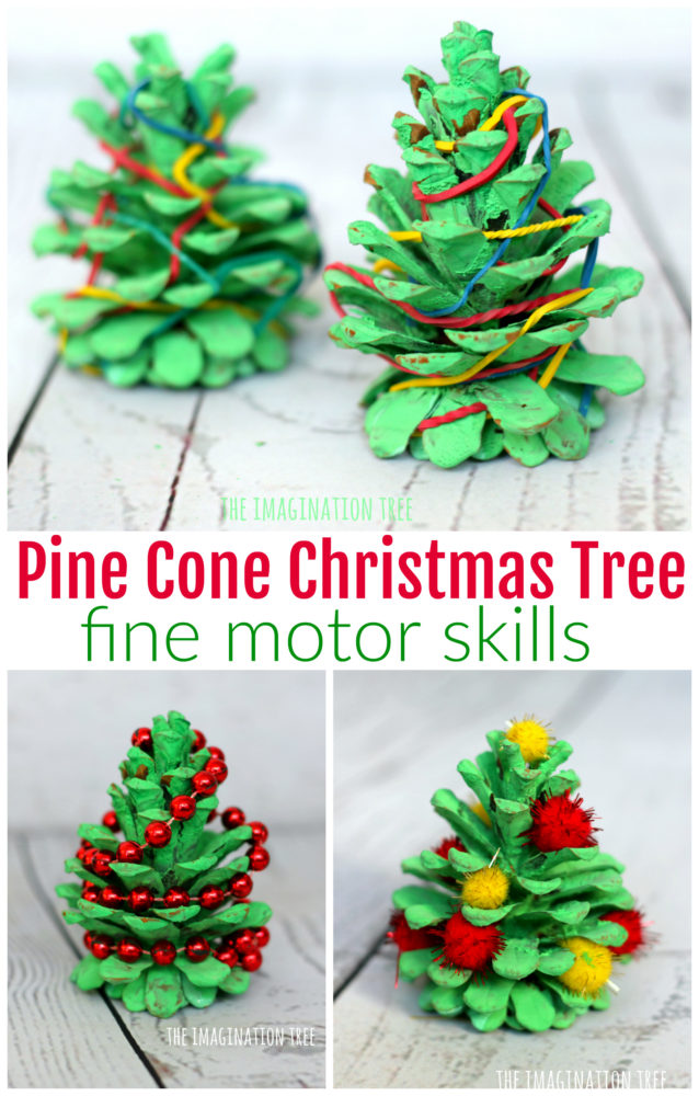 pine cone christmas tree fine motor activities the imagination tree. Black Bedroom Furniture Sets. Home Design Ideas