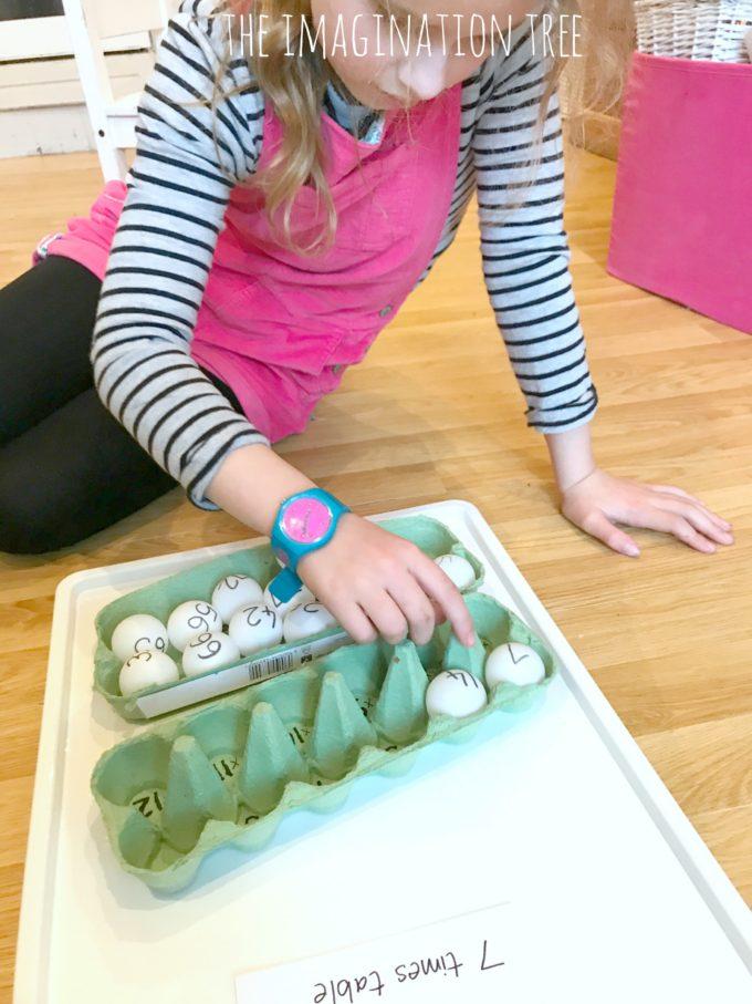 Egg Carton and Ping Pong Balls Multiplication Game
