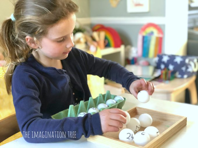 Ping pong and egg carton multiplication game
