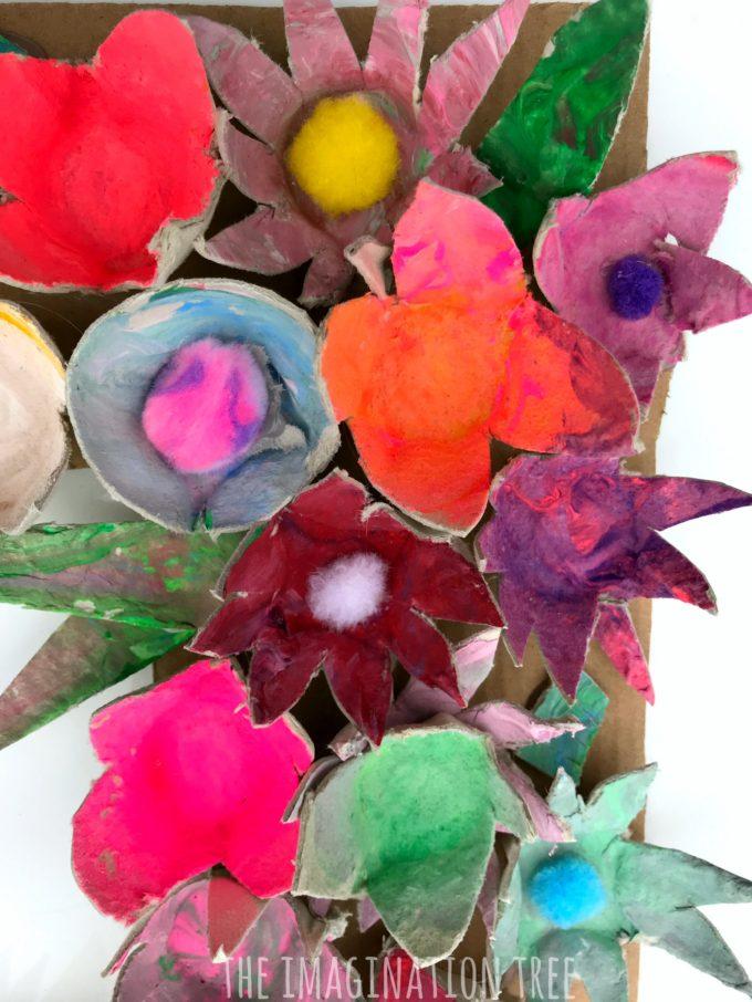 Egg carton flowers close up