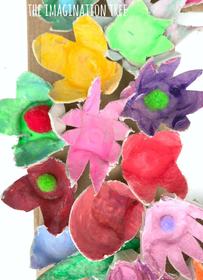 Egg carton flowers art and craft