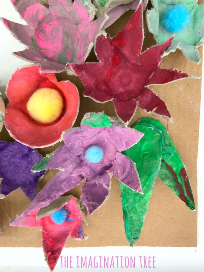 Egg carton flowers with pom pom centres