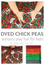 Dyed Chick Peas Sensory Play