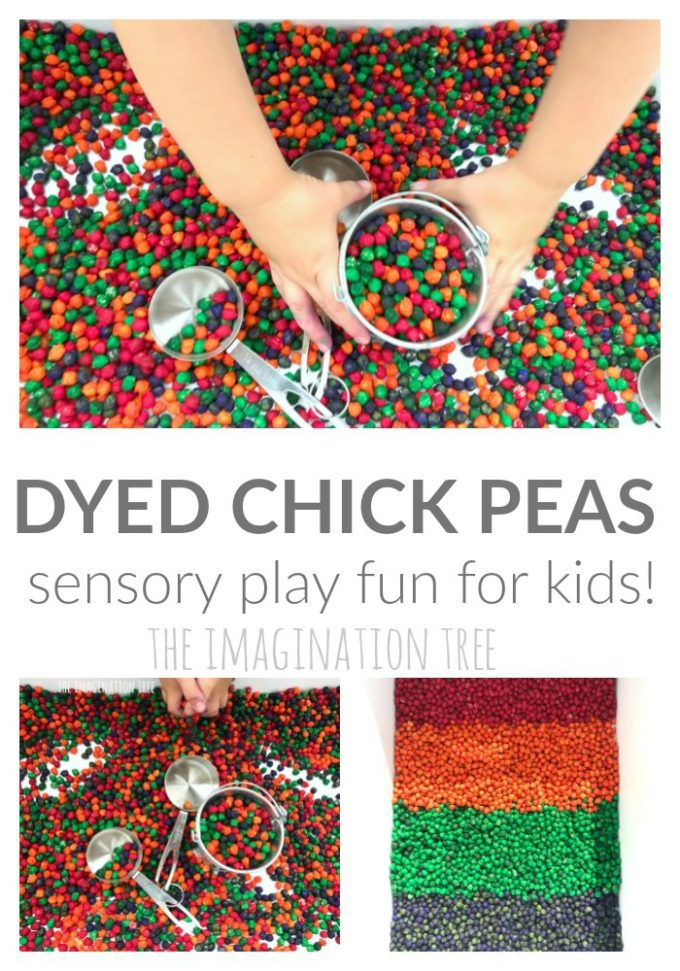 How to dye chick peas for sensory play!