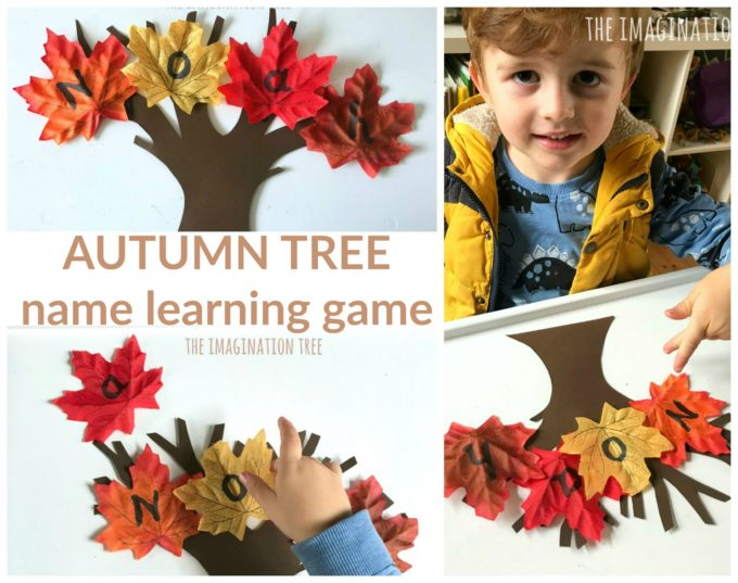 Autumn tree name learning game for preschoolers!