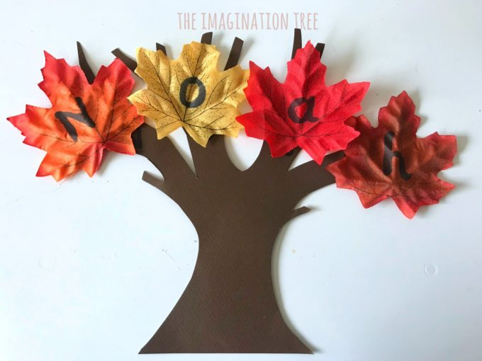 Name learning game with Autumn leaves