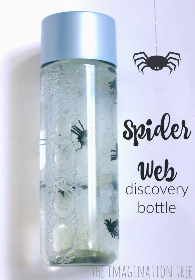 Spooky spider web discovery bottle for babies and toddlers!