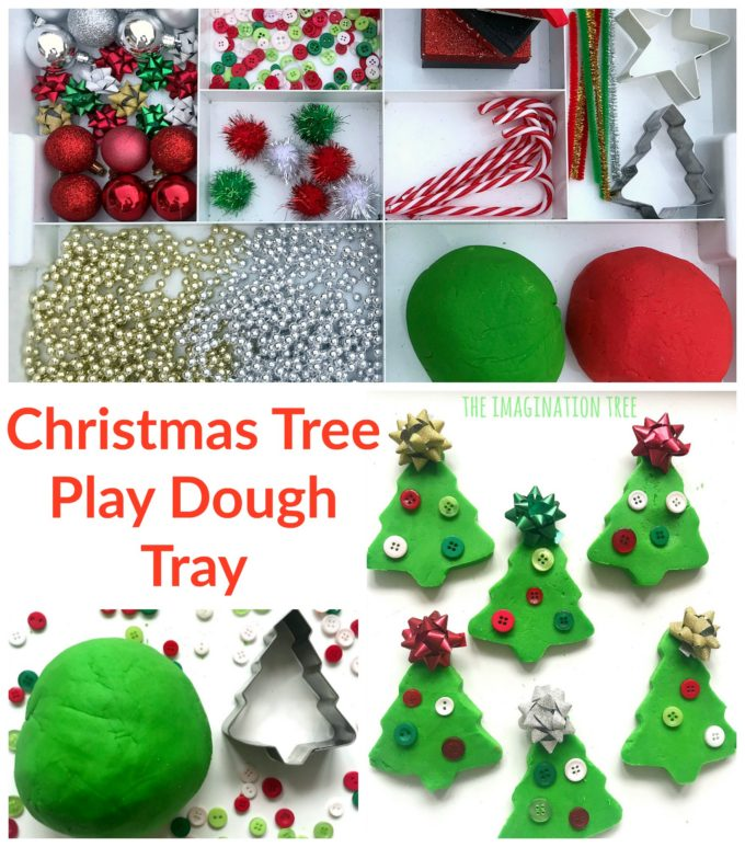 Christmas Tree Play Dough Tray