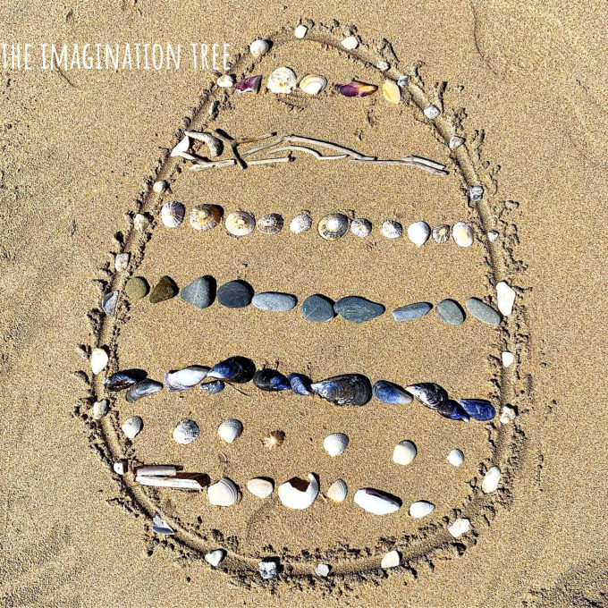 Easter Egg Beach Land Art for Spring!