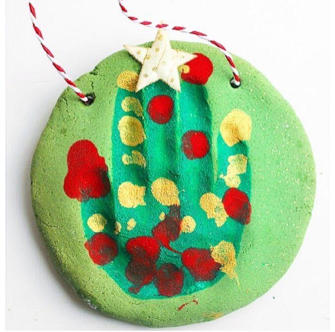 Salt dough christmas tree handprint keepsake