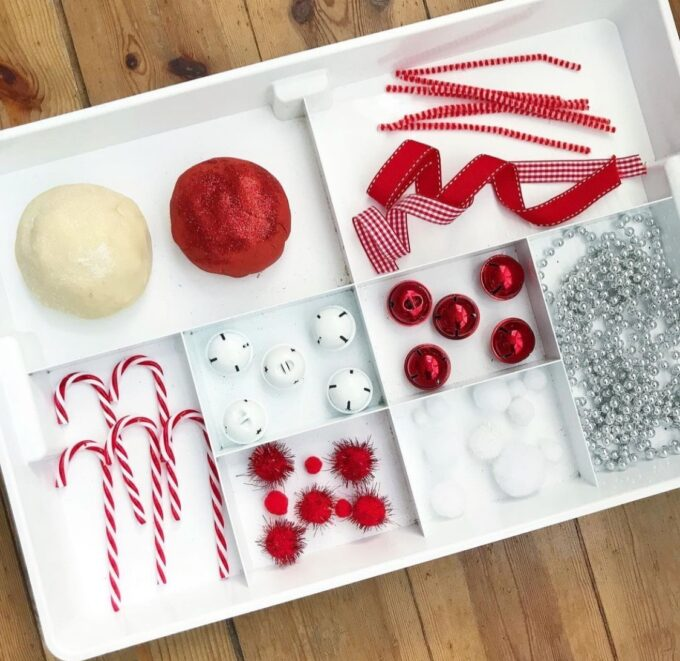 Candy Cane Play Dough Tray