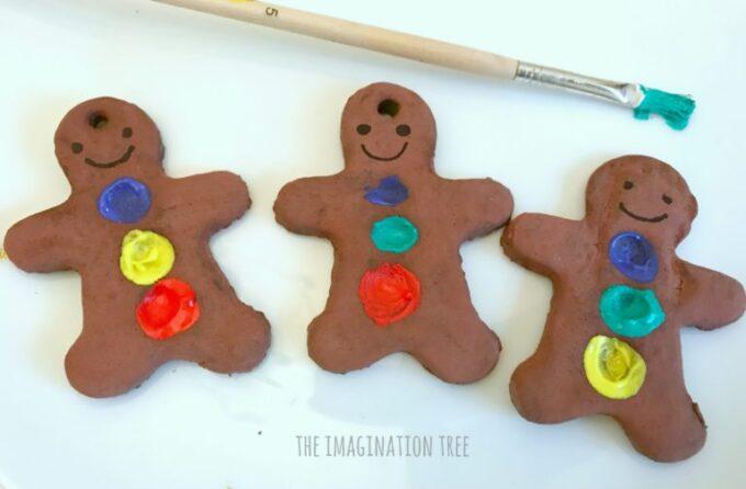 Fingerprint gingerbread men ornaments